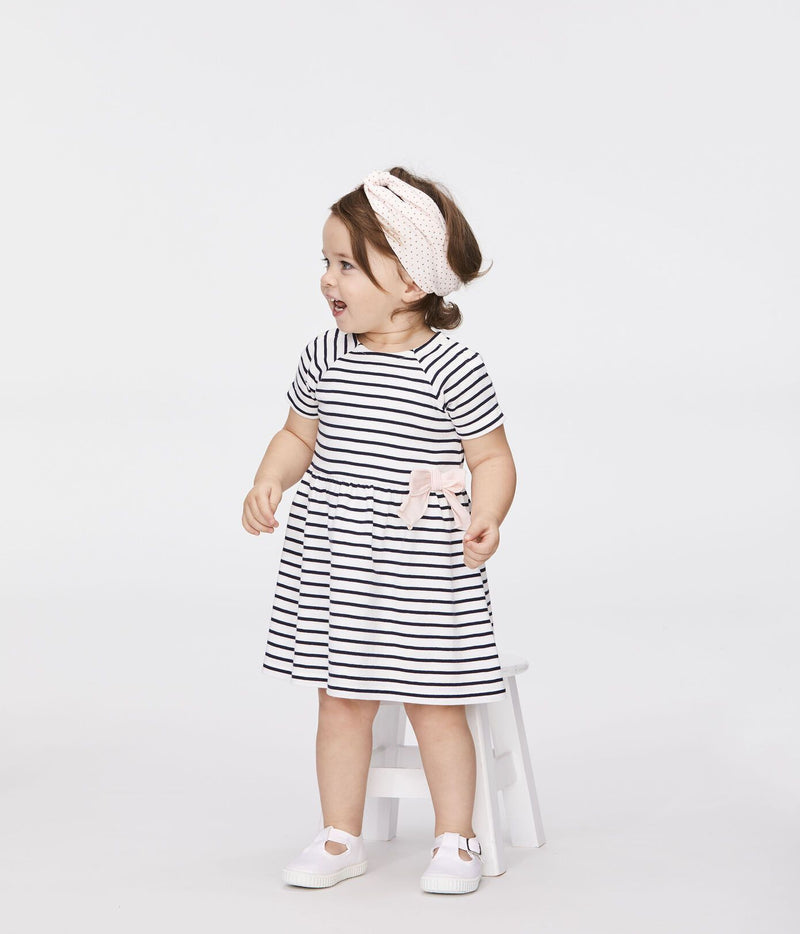 Petit Bateau Dress Baby Striped Short-Sleeved Dress with Bow