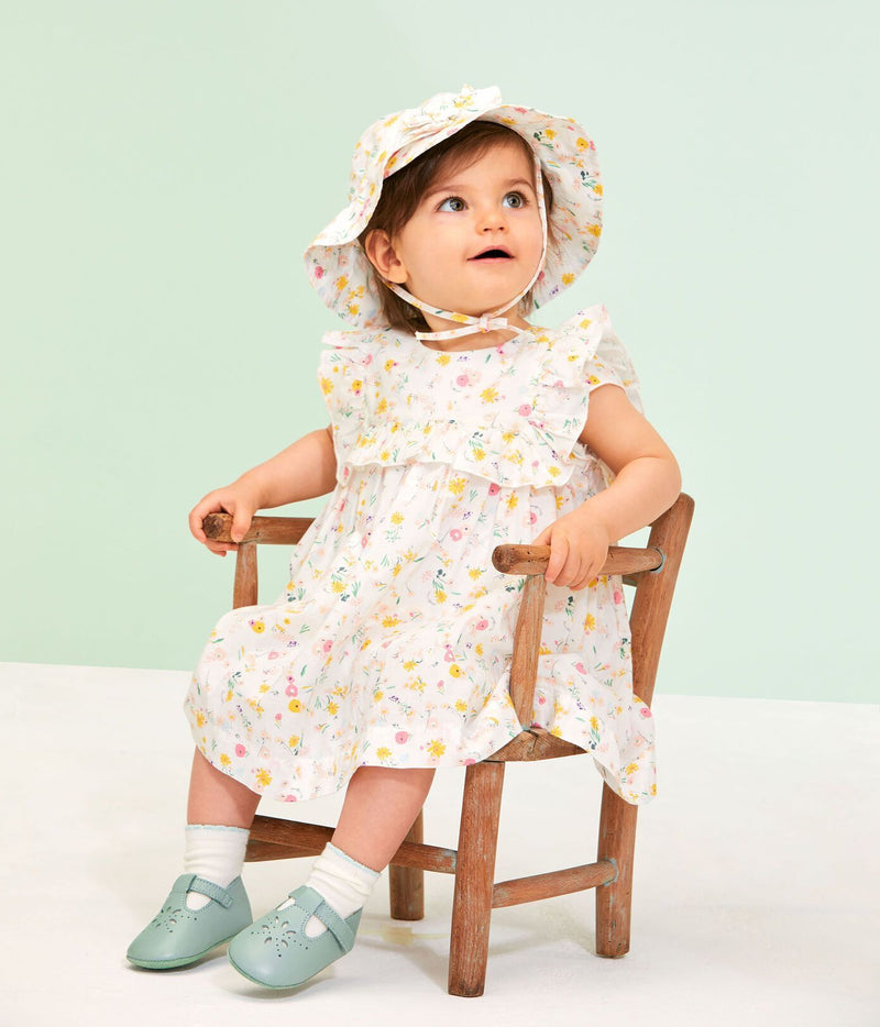 Petit Bateau Dress Short-Sleeve Printed Dress - Marshmallow/Yellow Flowers