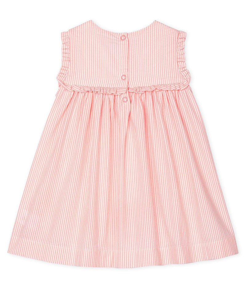 Petit Bateau Dress Sleeveless Striped Dress - Marshmallow/Pink
