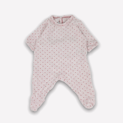 Petit Bateau Footed 1m / Preloved Re-Cycle Star Patterned Pink Footed Pyjama