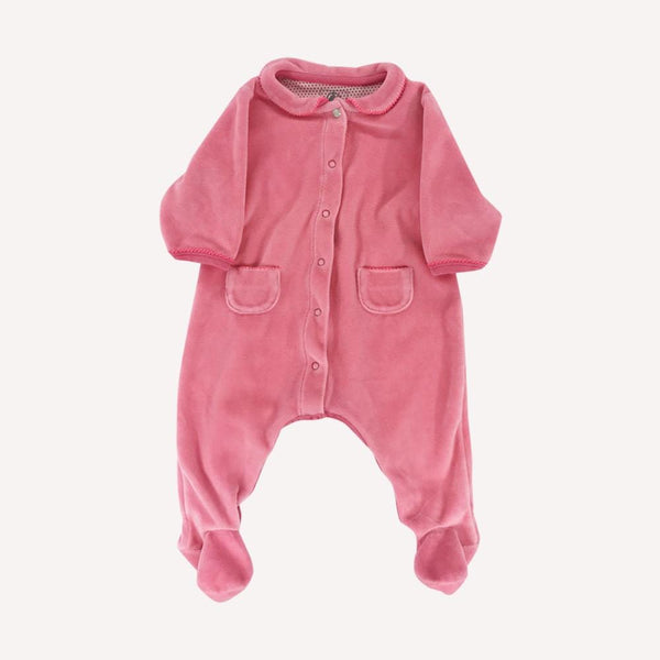 Petit Bateau Footed 3m / Like New Re-Cycle Solid Pink Velour Footed Pyjama