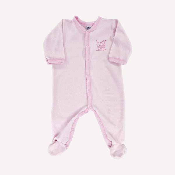 Petit Bateau Footed 6m / Like New Re-Cycle Striped Pink Footed Pyjama