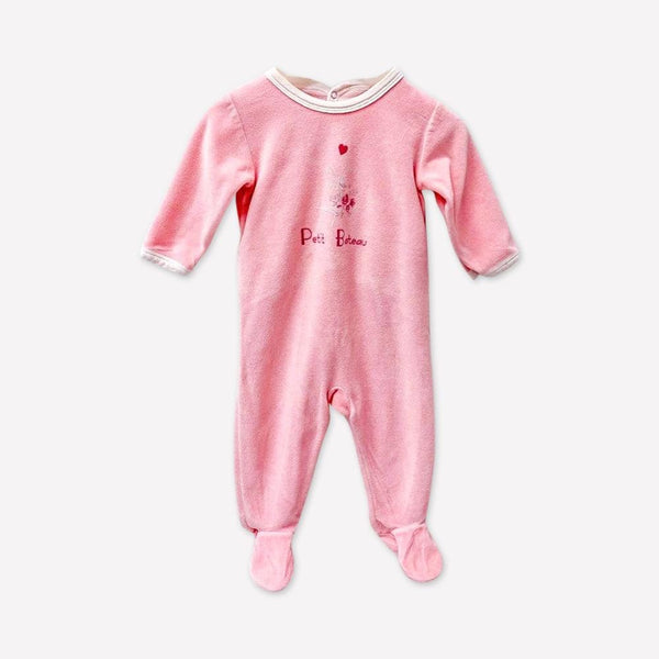 Petit Bateau Footed 6m / Preloved Re-Cycle Graphic Pink Footed Pyjama