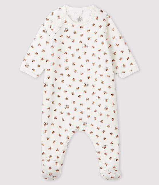 Petit Bateau Footed Fox Print Fleece Sleepsuit - Marshmallow white