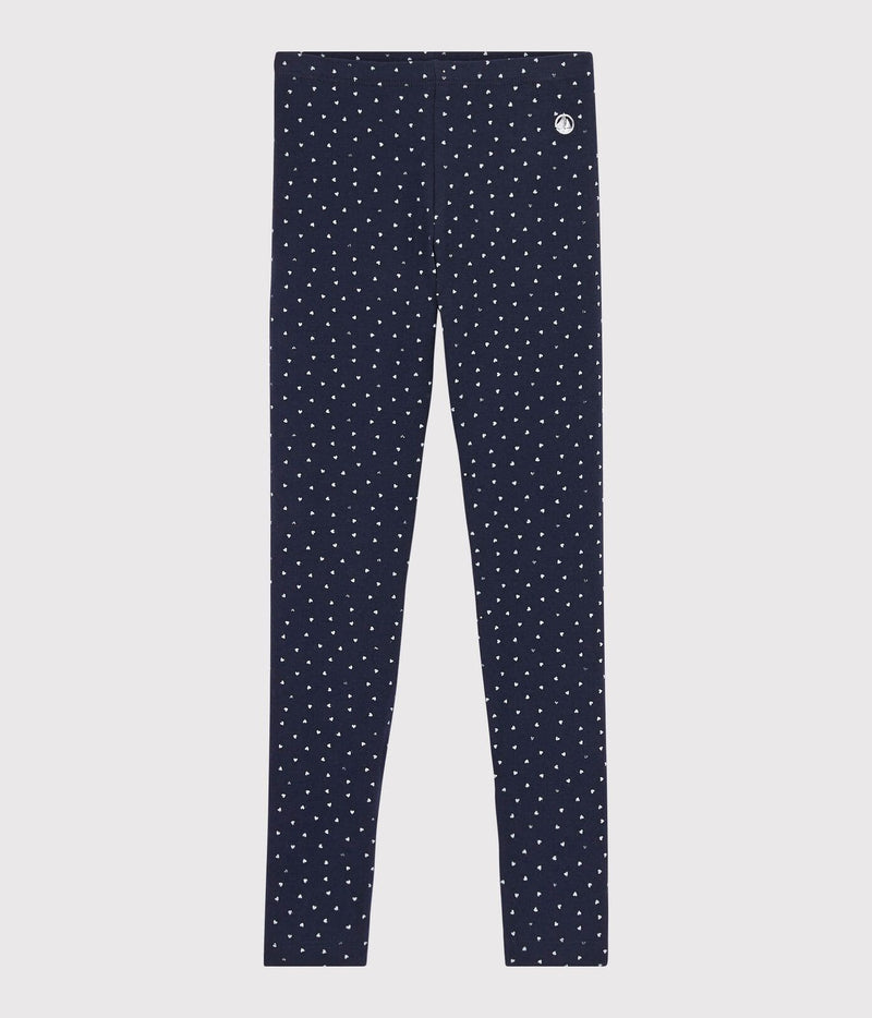 Petit Bateau Leggings Jersey Leggings - Smoking Blue with Silver Hearts