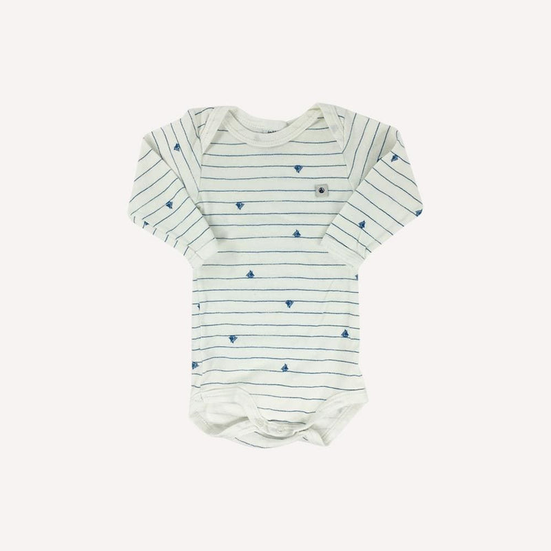 Petit Bateau Onesie 6m / Preloved Re-Cycle Striped White Onesie