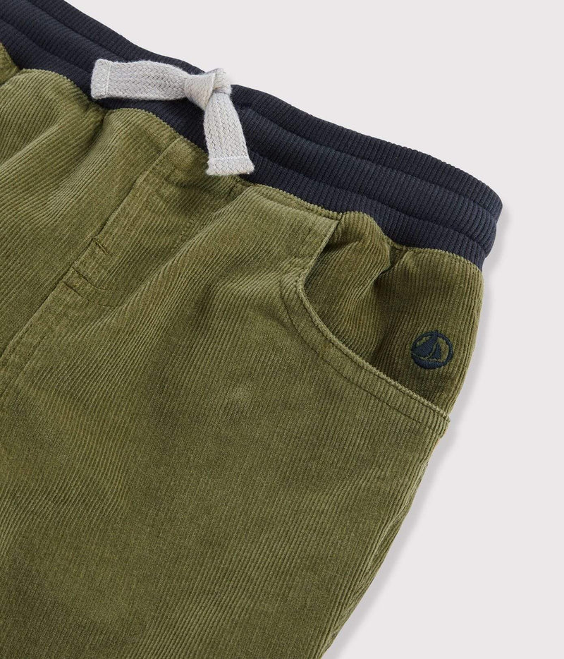 Petit Bateau Pants Boys' Velvet Trousers - Military