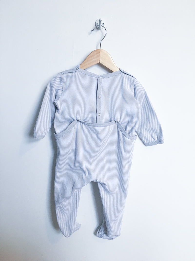 Petit Bateau Pyjamas 12m / Gently Used Re-Cycle Grey and White Striped Footed Pyjama