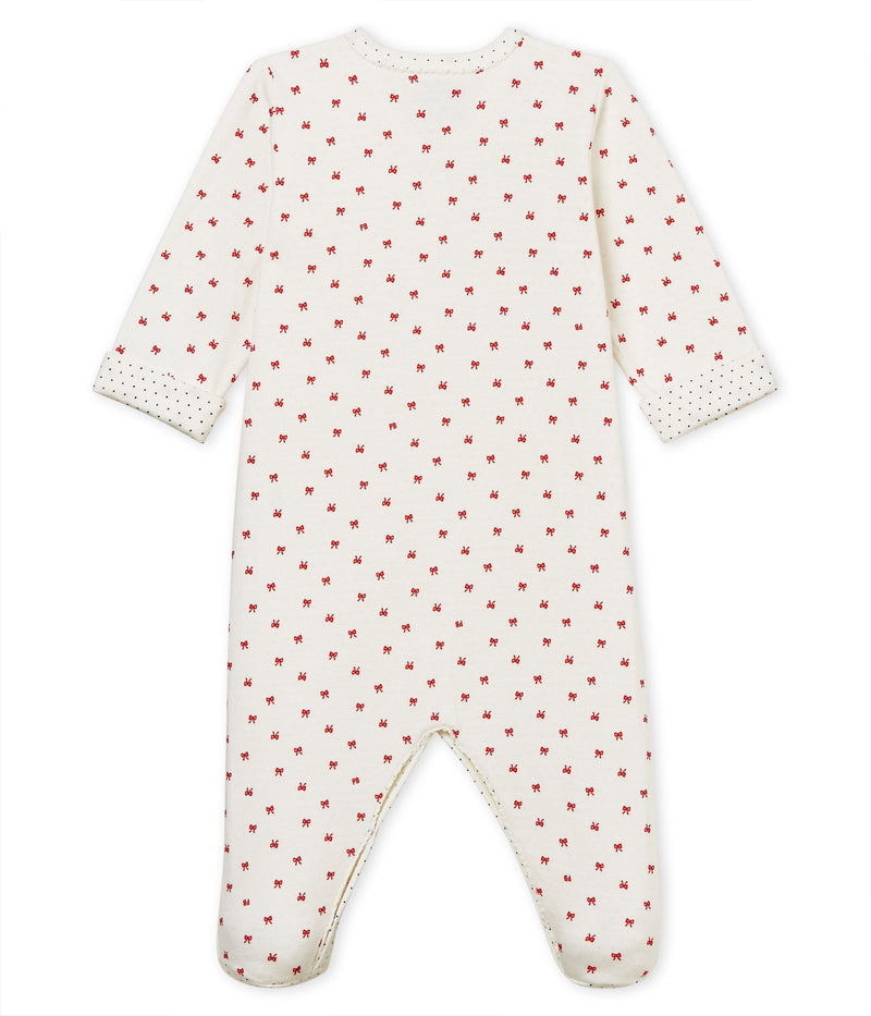 Petit Bateau Pyjamas 1m Baby Girl Tube Knit Sleepsuit - Little Red Bows