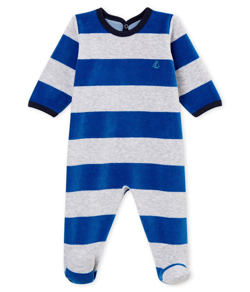 Petit Bateau Pyjamas 1m Broad Stripes Velour Sleepsuit