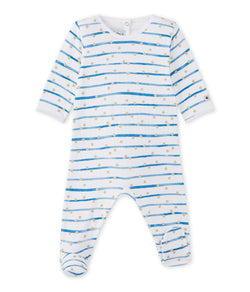 Petit Bateau Pyjamas 3m Baby Striped Double Knit Sleepsuit