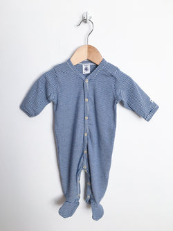 Petit Bateau Pyjamas 3m / Gently Used Re-Cycle Blue and White Striped Footed Pyjama