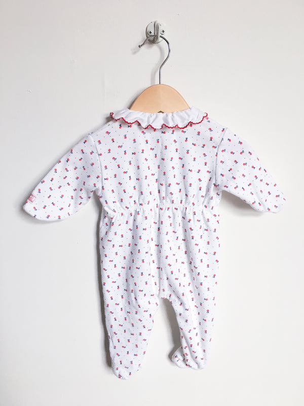 Petit Bateau Pyjamas 3m / Like New Re-Cycle Double Knit White Footed Flower Pyjama with Collar