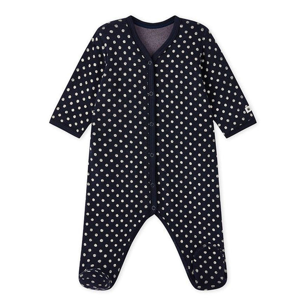 Petit Bateau Pyjamas NB Baby Sleeper in Terrycloth Bouclette with Polka Dots
