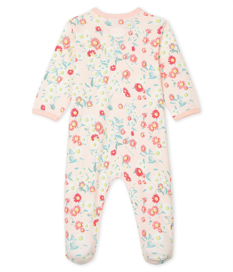 Petit Bateau Pyjamas Pink and White Ribbed Sleepsuit with Flowers