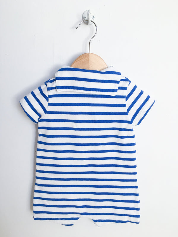 Petit Bateau Rompers 12m / Gently Used Re-Cycle Blue and White Striped Sailor Romper