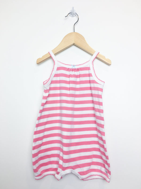 Petit Bateau Rompers 18m / Like New Re-Cycle Pink Striped Cami Romper