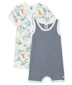 Petit Bateau Rompers 6m Baby Ribbed Playsuit - 2-Piece Set