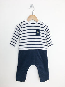 Petit Bateau Rompers 6m / Gently Used Re-Cycle Nautical Baby Jumpsuit with Golden Anchor