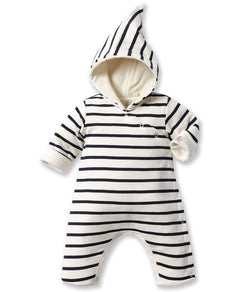 Petit Bateau Rompers + Overalls 1m Baby Striped Hooded All-In-One