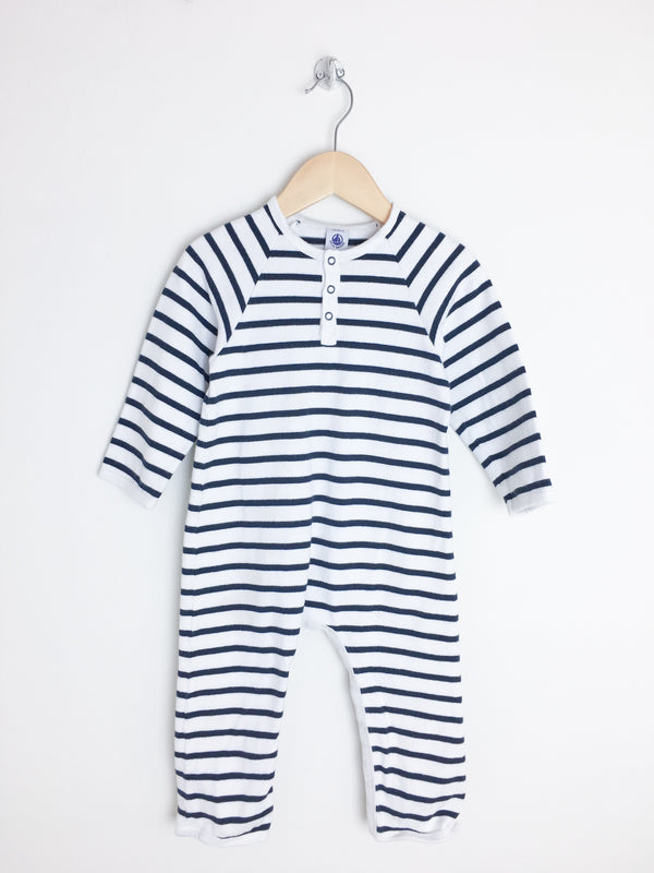 Petit Bateau Rompers + Overalls 24m / Gently Used Re-Cycle Navy and White Striped Jumpsuit