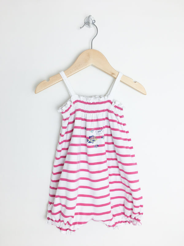 Petit Bateau Rompers + Overalls 24m / Gently Used Re-Cycle Pink and White Striped Romper