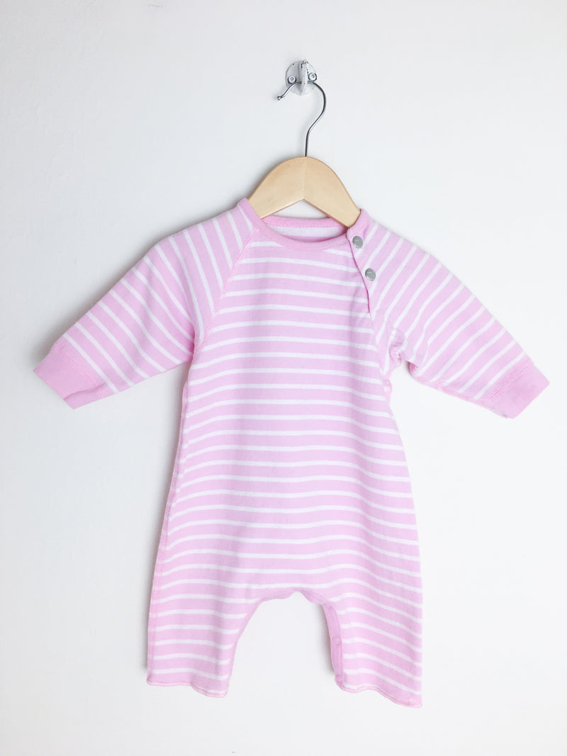 Petit Bateau Rompers + Overalls 3m / Gently Used Re-Cycle Pink and White Baby Romper