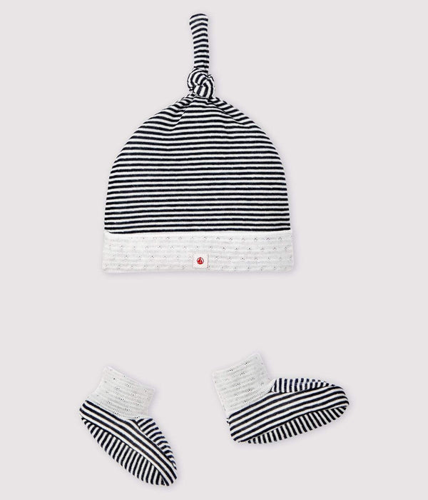 Petit Bateau Set Striped Bonnet and Booties Set