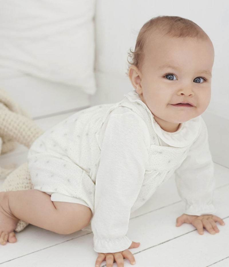 Petit Bateau Sets 2-Piece Baby Outfit - White and Perlin Beige