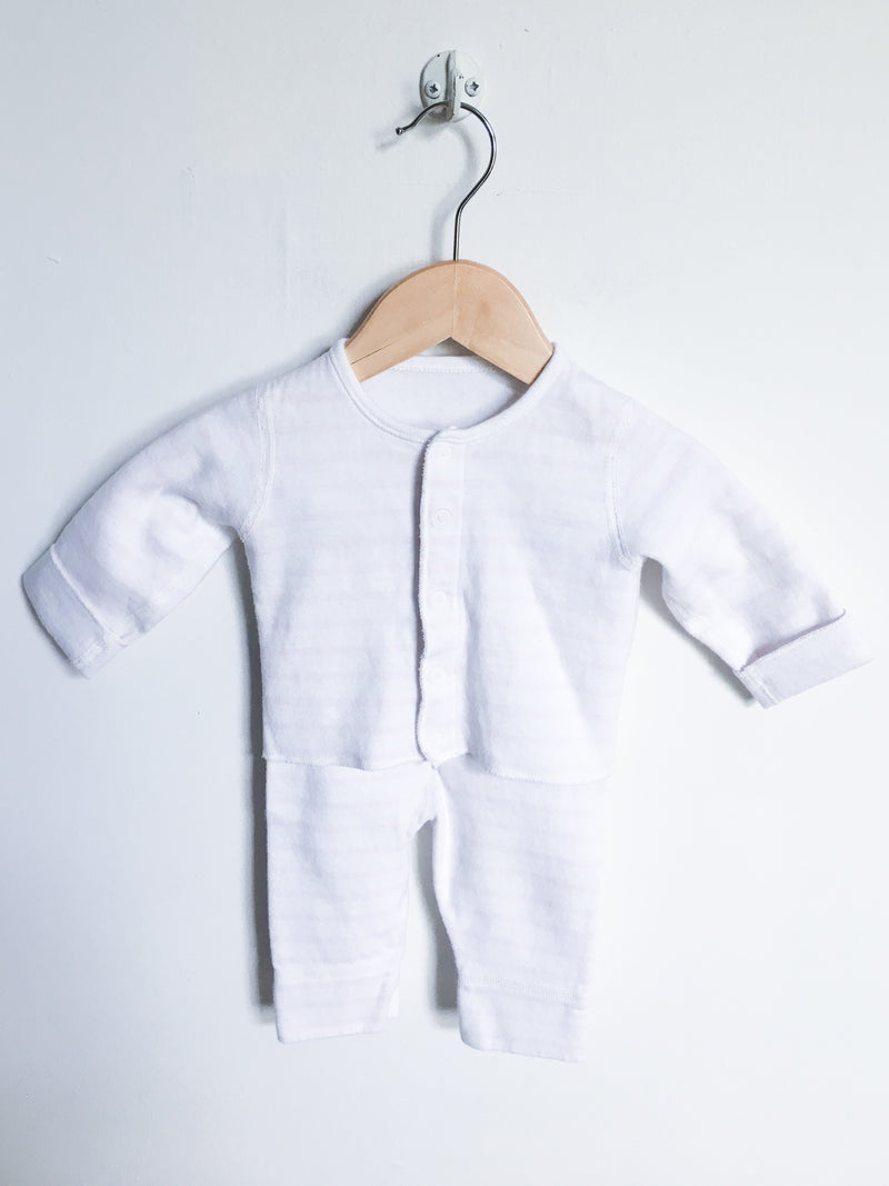 Petit Bateau Sets 3-6m / Gently Used Re-Cycle White and Pink Striped Baby Pyjama Set