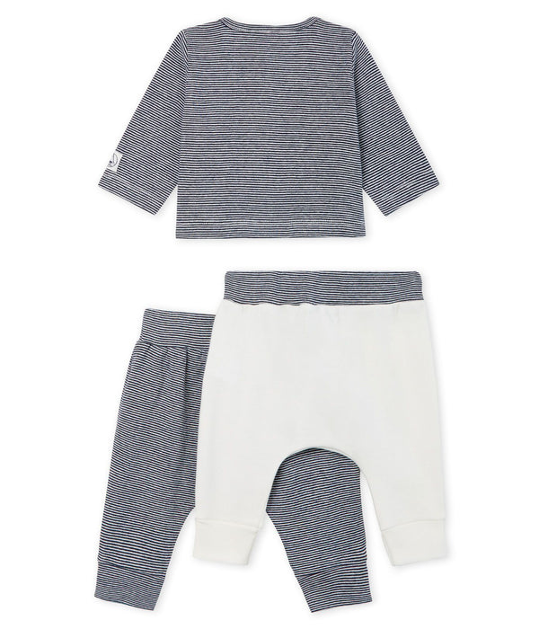 Petit Bateau Sets Baby Ribbed Striped 3-Piece Set