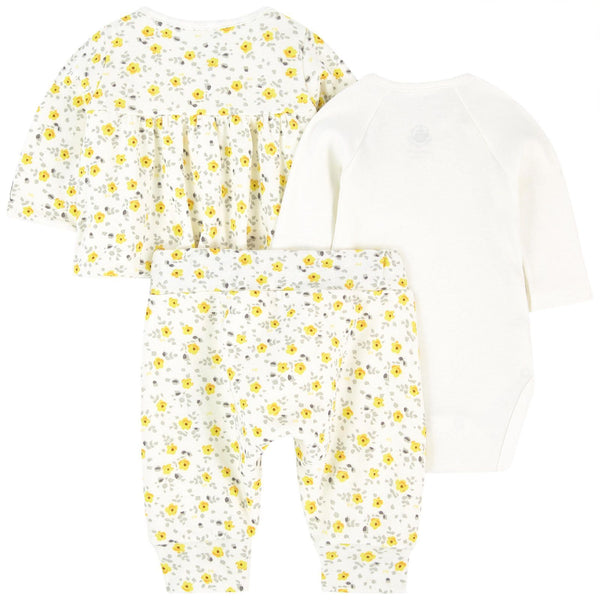 Petit Bateau Sets Baby Yellow Flower Print 3-Piece Set