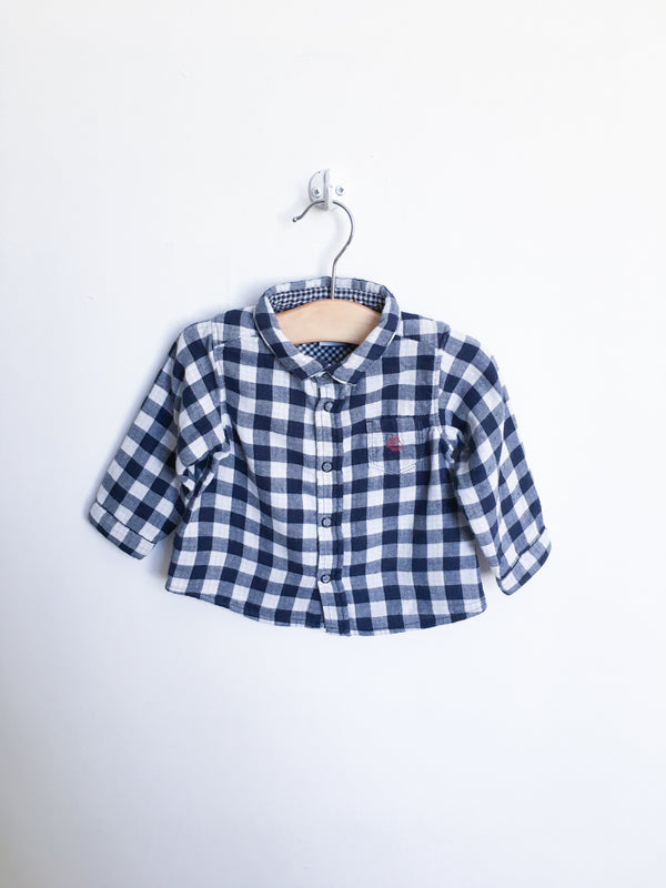 Petit Bateau Shirts 6m / Gently Used Re-Cycle Blue and White Checkered Shirt