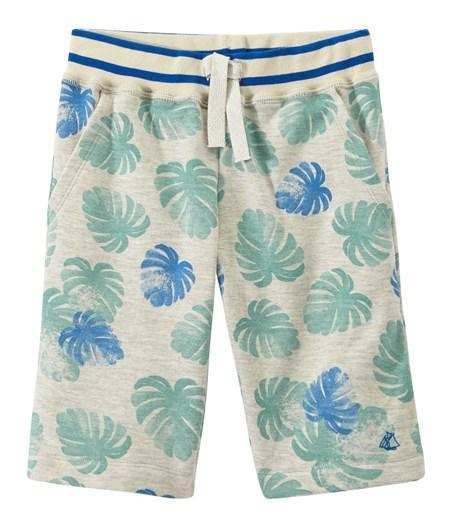 Petit Bateau Shorts 3y Bermudas in Light Jungle Print Fleece