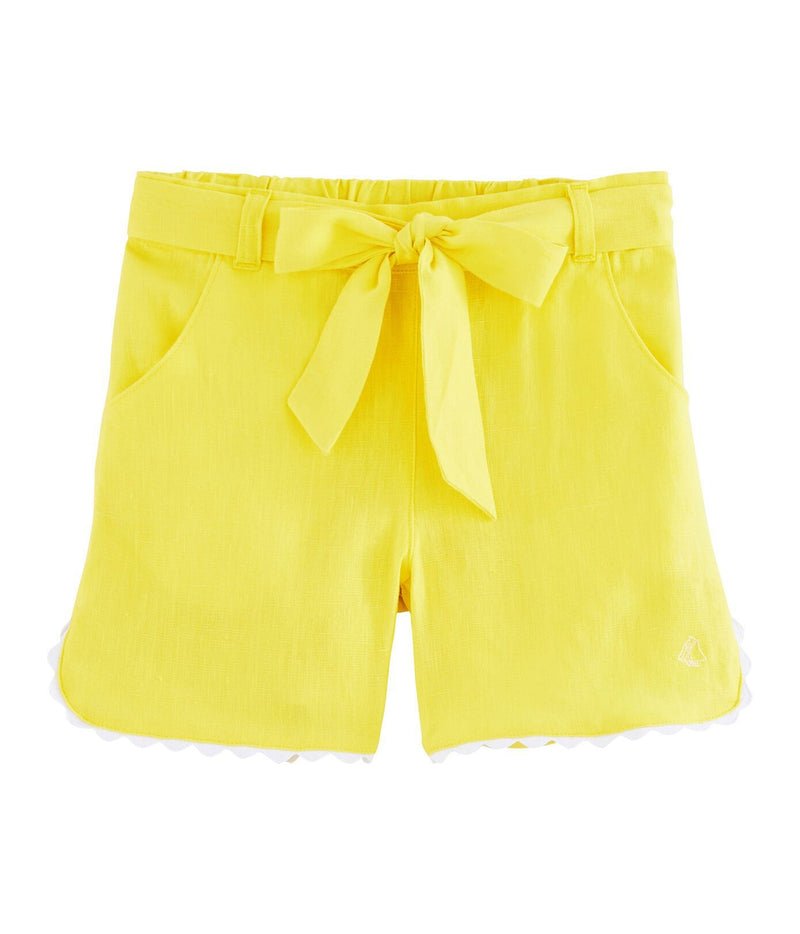 Petit Bateau Shorts Bermuda Shorts - Yellow with Lace