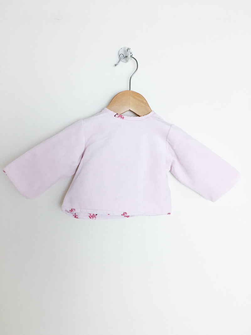 Petit Bateau Sweaters 1m / Gently Used Re-Cycle Light Pink Velour Baby Jacket