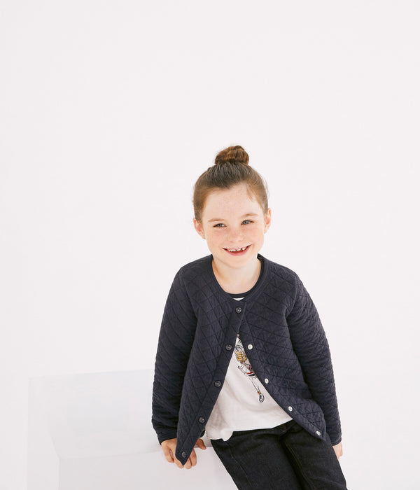 Petit Bateau Sweaters 2y Dark Blue Double Knit Cardigan with Gold Stripes