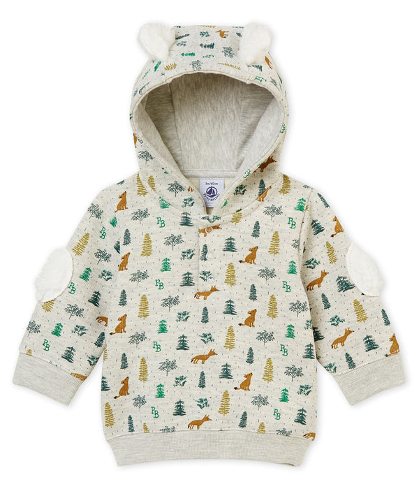 Petit Bateau Sweaters 3m Baby Hooded Foxes Print Sweatshirt