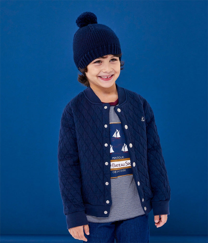 Petit Bateau Sweaters 4y Quilted Double Knit Cardigan