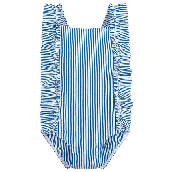 Petit Bateau Swimwear 18m Baby Girls Blue Ruffle Swimsuit