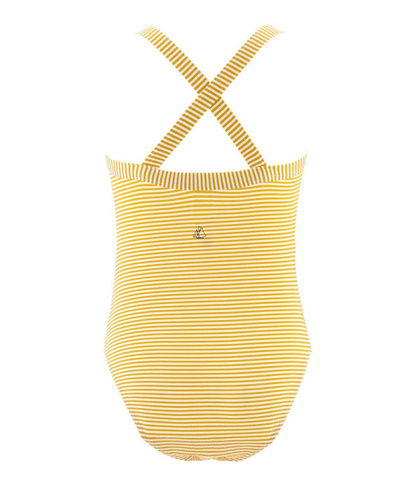 Petit Bateau Swimwear 4y Girls Yellow Ruffle Swimsuit