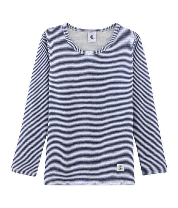 Petit Bateau T-Shirt Long-Sleeved Wool and Cotton T-Shirt - Blue