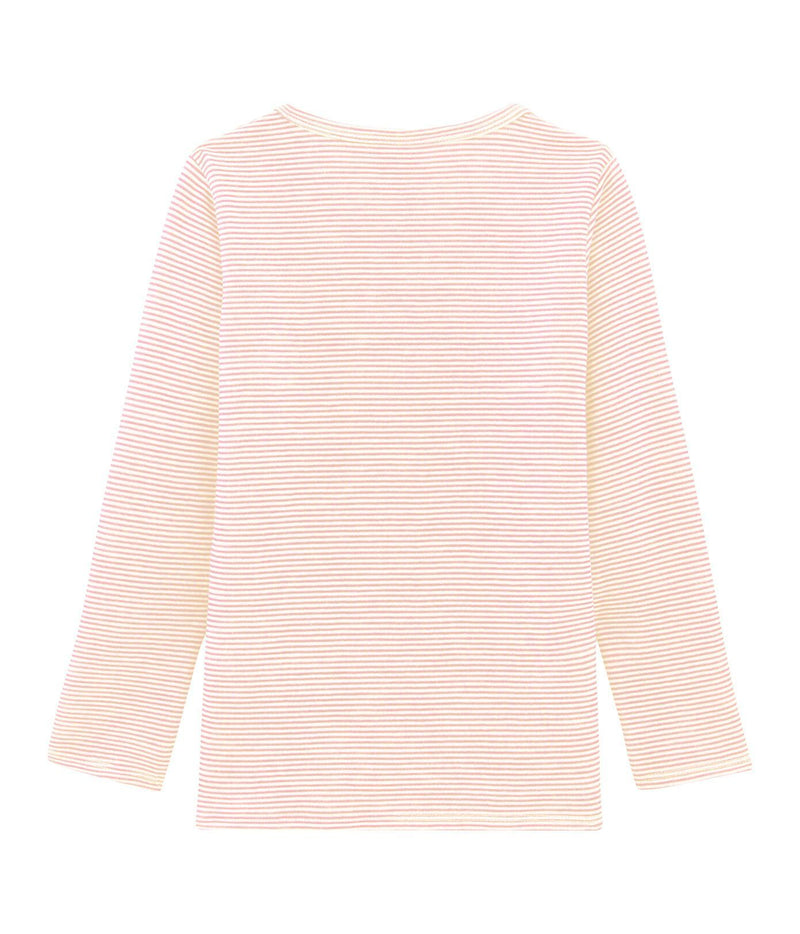 Petit Bateau T-Shirt Long-Sleeved Wool and Cotton T-Shirt - Pink