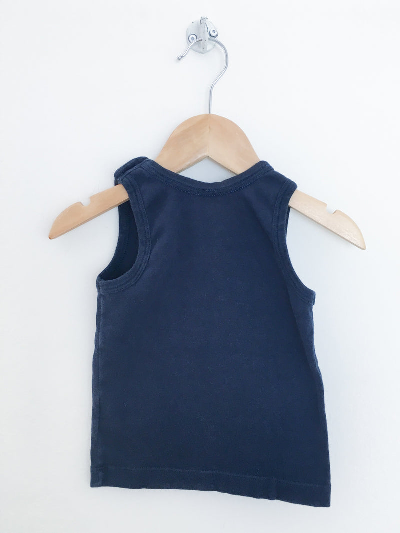 Petit Bateau Tank Top 24m / Gently Used Re-Cycle Navy Blue Pocket Tank Top