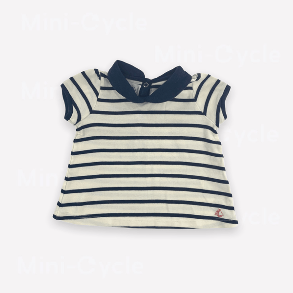Petit Bateau Top 12m / Like New Re-Cycle Striped Cream Top