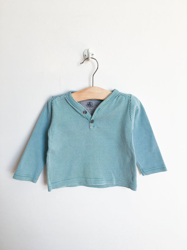 Petit Bateau Tops + Bodysuits 18m / Gently Used Re-Cycle Green and White Striped Long Sleeved Tee