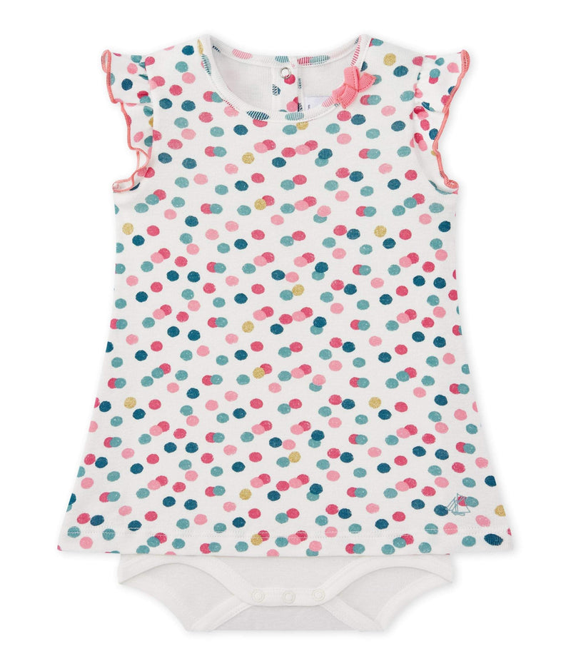 Petit Bateau Tops + Bodysuits 1m Baby Polka Dots Bodysuit Dress