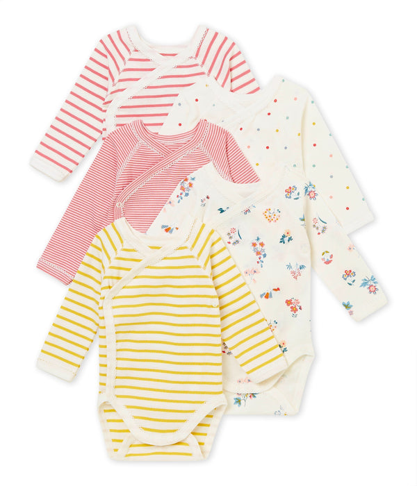 Petit Bateau Tops + Bodysuits 1m Set of 5 Newborn Baby Long-Sleeved Bodies