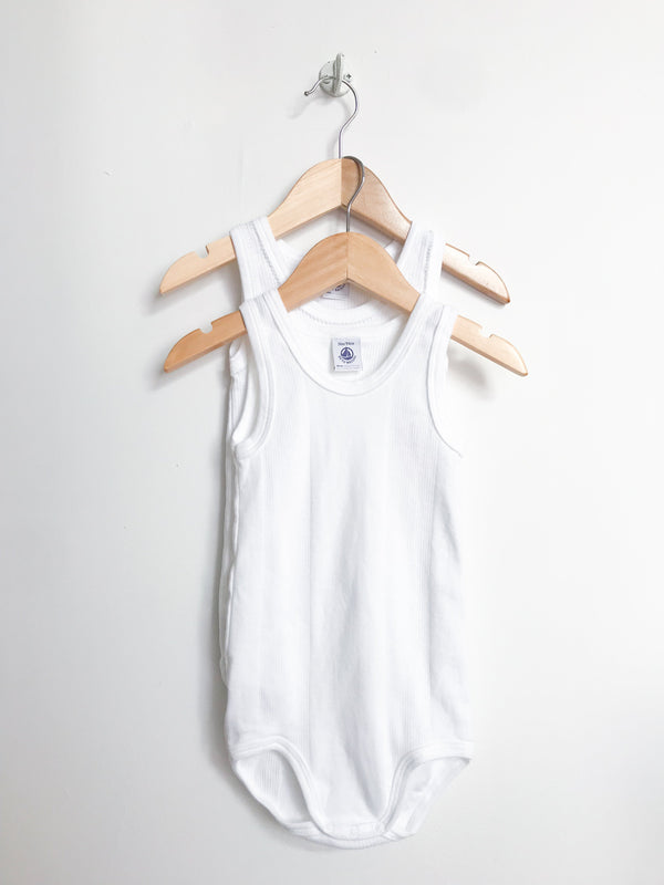 Petit Bateau Tops + Bodysuits 36m / Gently Used Re-Cycle White Sleeveless Bodysuits Duo