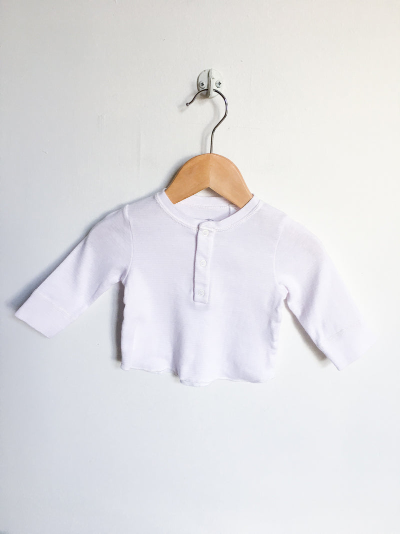 Petit Bateau Tops + Bodysuits 3m / Gently Used Re-Cycle Pink and White Long-Sleeved Baby Shirt